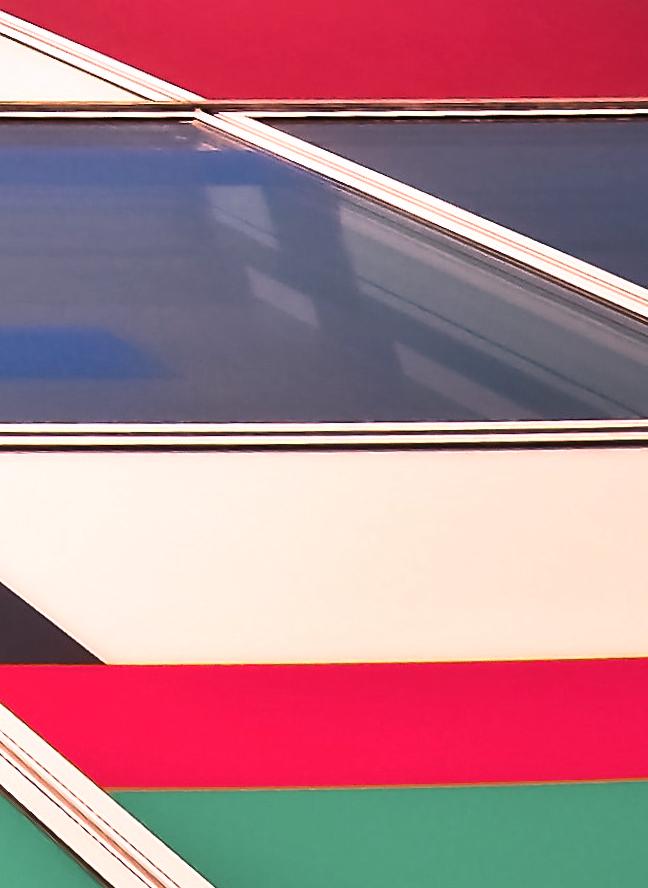 Verschiedenfarbige Rechtecke einer Hauswand