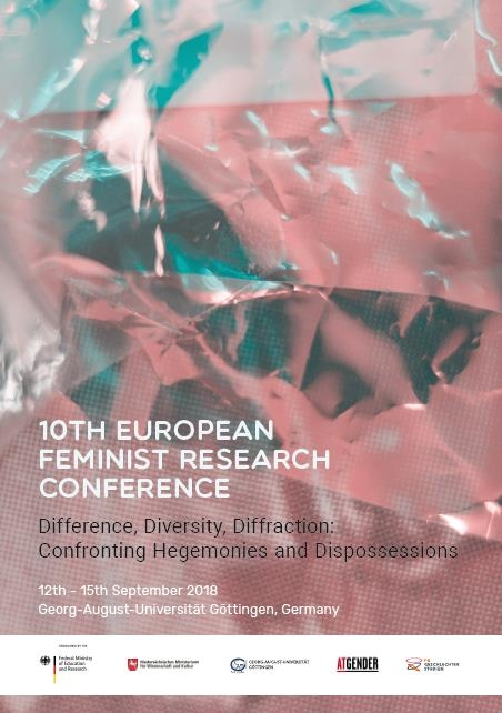 Cover of the 10th European Feminist Research Conference: An iridescent crinkled texture in shades of red and green